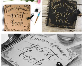 Personalised handwritten calligraphy guestbook 8x8in wedding guest book