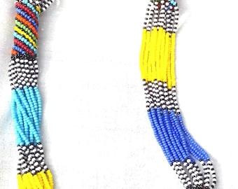 Multi strands Zulu beaded necklace, Zulu long necklace, Maasai Beaded necklace, Maasai Jewelry, African Zulu necklace
