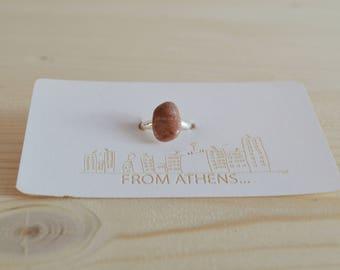 Natural pink stone ring - silver