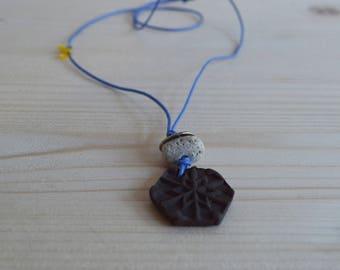 Snowflake ceramic pendant necklace