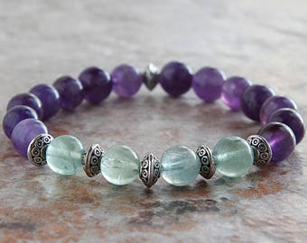 8mm Amethyst and Flourite Gemstone Beaded Bracelet-Multicolored-Mens Womens Gift-Metal Accents-Stretchable-Jewelry-Custom-Stretch-NEW