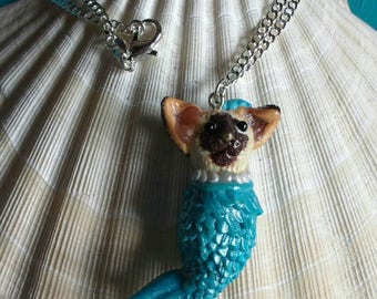Siamese mermaid cat pendant.cat necklace.marmaid pendant.marmaid necklace.marmaid cat hand sculptured necklace.pendant. silver 925.hand made