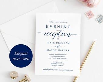Printable Navy Reception Invitation Template, Evening Reception Invite, DIY Formal Wedding Reception Card, Editable PDF, Modern #SPP008iiri