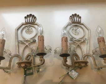 Stunning Pair Hollywood Regency French Brass Tole Crystal Drops Sconces/Wall Lights 1950s Rewired US/EU/UK