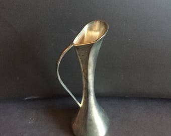 """Vintage Small Silver Vase 7"""" Tall Pitcher Style"""