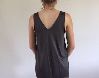 Vintage Jil Sander Minimal Espresso Sleeveless Dress w/ Back V | S-M