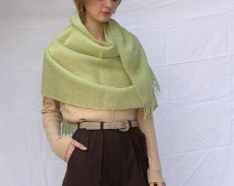 Large Mohair Wool Wrap Shawl Scarf Mint Green