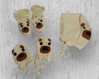 Hand Knit cashmere Puppy Set -baby shower gift, newborn gift, hand knit baby bonnet, hand knit baby shoes, cashmere hand knit, baby gloves