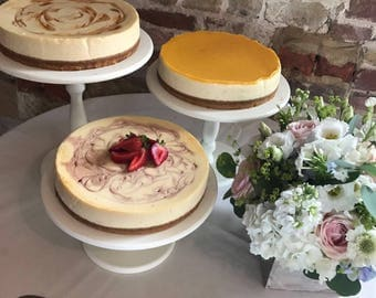 5 6 7 8 9 inch wooden cake stands. Standard white or cream or can customise in colour