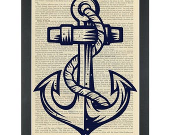 Anchor silhouette blue ship ahoy Dictionary Art Print