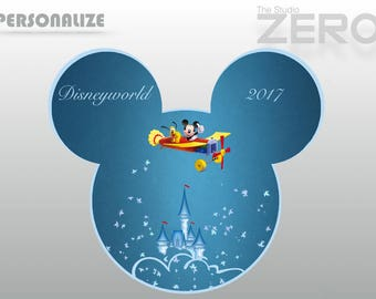 Disneyland 2017  Mickey Pluto Flying,  Mickey Head, Personalize - 300 DPI Printable/Iron On Transfer or Use as Clip Art