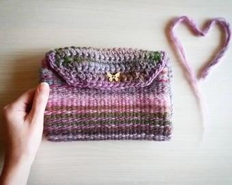 Woven Crochet Clutch bag wallet butterfly