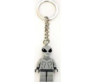 UFO Space Alien Minifig Keychain Keyring NEW Custom made with LEGO parts