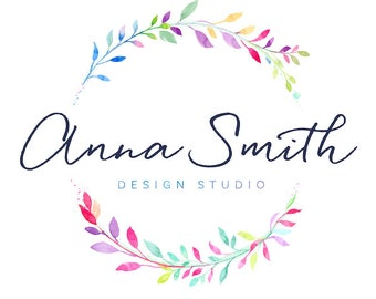 Watercolor Logo Design, Leaves Logo, Custom LOGO Branding Leaf Logo Round Wreath Logo Pink Purple Circle Logo Photography Logo Boutique Logo