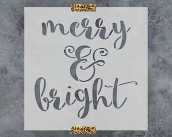 Merry & Bright Stencil - Reusable DIY Craft Stencil of Merry and Bright - Awesome Christmas Stencil for Crafts!