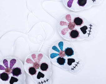 Sugar Skull Rockabilly Candy Skull Flower Floral Glitter Day of the Dead Gothic Baby Nursery Bunting Baby Shower decoration Gifts Present