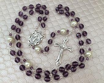 Tanzanite Czech Fire Polished Five Decade Catholic Rosary