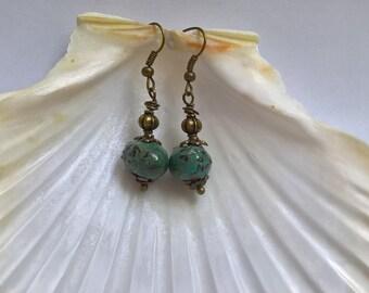 artisan beads in black enamel earrings Green
