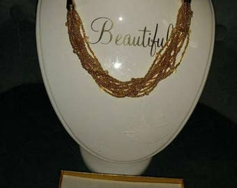 Gold beads necklaces and earings