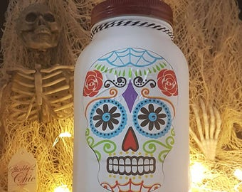 "Hand Painted ""Day of the dead"" I litre Kilner Jar/Vase/Money Jar/Treat Jar/Wish Jar/Halloween/kids/Skeleton/Skull/Pattern/Pretty"