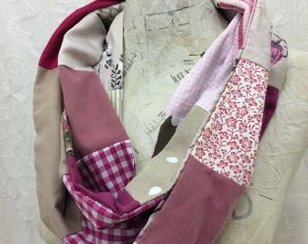 Hand made recycled fabric pink and beige cotton infinity scarf