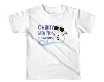 Chillin with my snowmies Short sleeve kids t-shirt