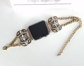 Apple Watch Band 38mm, Apple Watch Band 42mm,  Antiqued Brass Victorian Slider Bead with Glass Crystal and Chain