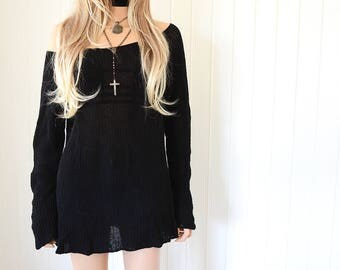 Black Off the Shoulder Knit Sweater 90s Grunge Hipster Sweater Vintage 90s Grunge Minimalist 90s Clothing Boho Cable Knit Top Womens Sweater
