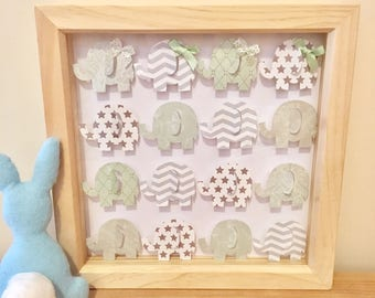 Nursery Picture - 3D Elephants baby boy mint and grey