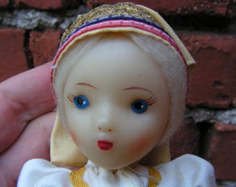 Vintage Plastic Russian Doll Folk Costume Antique Miniature Doll Celluloid Hand Painted Face Girl Doll