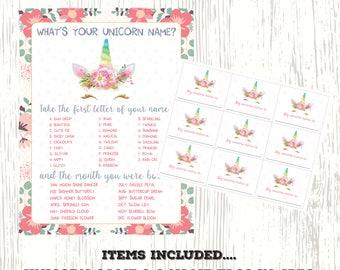 Unicorn name game,Unicorn party,Unicorn Birthday, Unicorn Party Sign,Unicorn Printable,unicorn invitation,unicorn props
