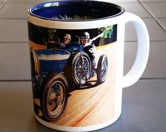 French Car Mug, Bugatti Mug, Special mug for car lover, French vintage racing car mug, Gift for Co-Worker, Great gift for dad or granddad