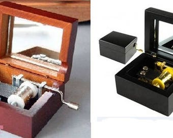 Music box with mirror Golden crank
