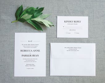 The Rebecca Suite  //  Classic Modern Typography Wedding Invitation Suite with Monogram