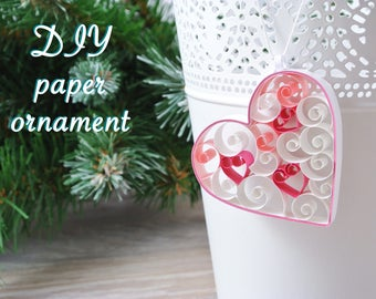 Heart hanger, Christmas decoration DIY kit. Ornament paper quilling for beginner kit, kit creative child or adult, color choice.