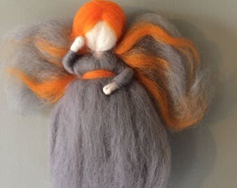Fairies, Angels carded Merino - orange taupe