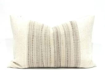 "14""x 21"" Hmong+ african cream mudcloth pillow cover"