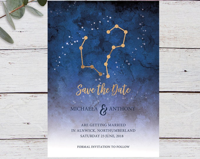 Featured listing image: Written in the Stars, Save the Date, Printable Invitation Template, Wedding Invitation, Starry Sky, Star Signs, Aries, Aquarius, Gold