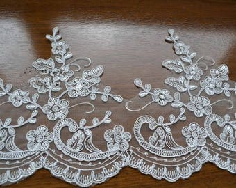 Beige Trim Lace, Lace Trim for Bridal Veil, Wedding Lace Trim, 7.48   Inches Wide 1.09 Yards/ Craft Supplies, WL777