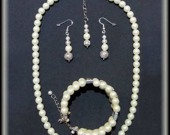 Pearl and Silver Bridal Jewelry set