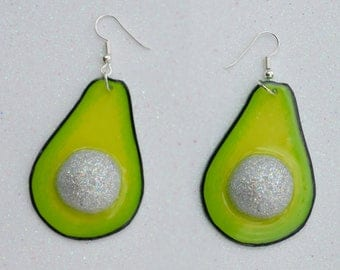 Glitter Stone Avocado Earrings