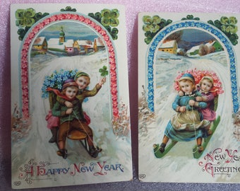 Vintage holiday, New Year, German, glossy postcards