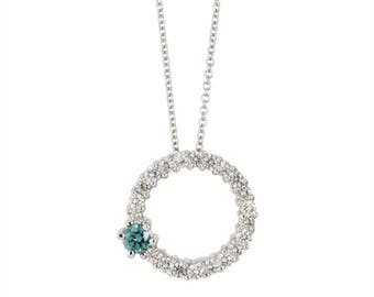 14k white gold diamond circle pendant