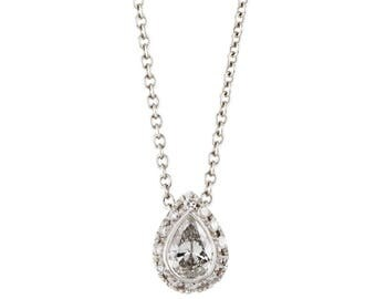 14k white gold diamond pavé pear shaped pendant