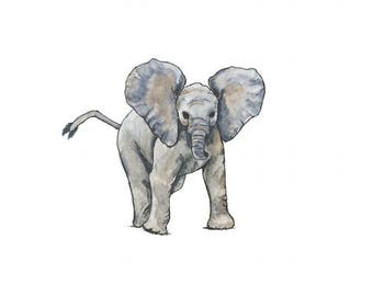 baby elephant watercolor giclée print