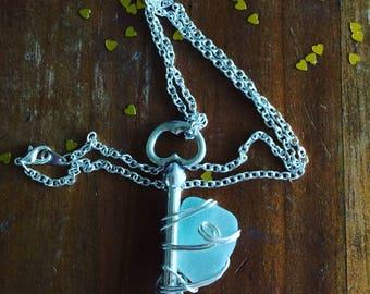 Key to my Heart Aqua Sea Glass Necklace