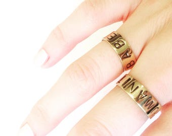 Ring gold plated HUMANITY customizable