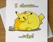 Pikachu Birthday Card, Pokemon Birthday Card, Pokémon, Pikachu, Fat Pikachu, Funny Birthday Card, Funny Pikachu, Pikachu Greeting Card,
