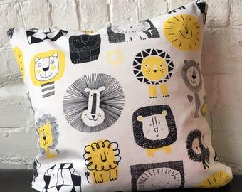 Handmade Lions Printed Cushion 50 x 50cm