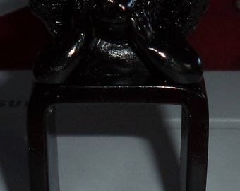 Black with an Angel plastic napkin ring